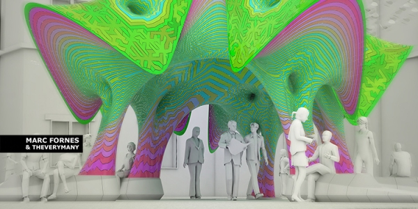 MARC FORNES THEVERYMANY Texas State Self Supported Pavilion Aluminum Shingles Digital Fabrication
