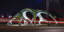 MARC FORNES THEVERYMANY Spineway San Antonio Texas Public Art Overpath Bridge Catenary Network Lightweight Structure Aluminum
