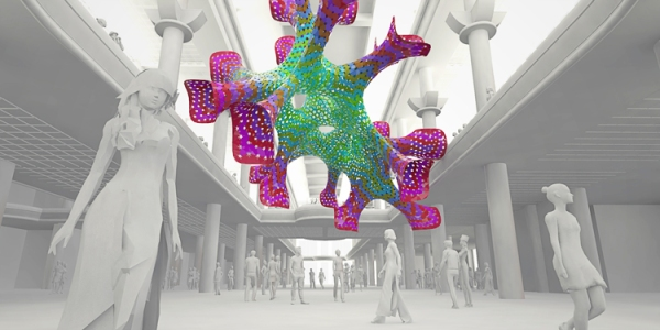 Orlando Orange County Convention Center MARC FORNES THEVERYMANY Distributed 3D Mesh Network Public Art Colors